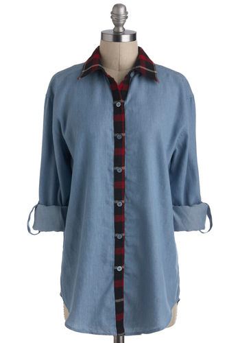 North Country Cutie Top - Blue, Red, Black, Plaid, Buttons, Long Sleeve, Long, Casual, Menswear Inspired, Rustic