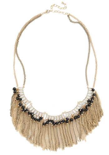 Crystal Ballroom Necklace - Gold, Black, Solid, Beads, Chain, Rhinestones, Party, 20s, Statement
