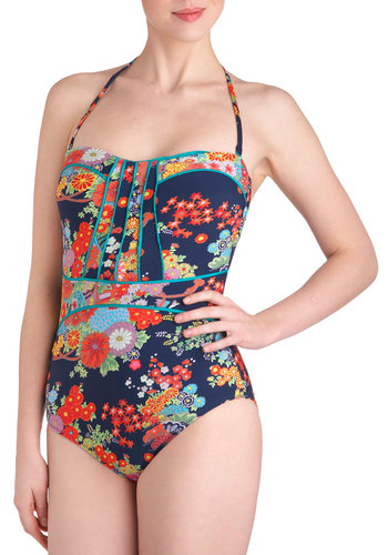 Lune and Lagoon One Piece in Midnight - Blue, Multi, Floral, Summer, Vintage Inspired, Beach/Resort