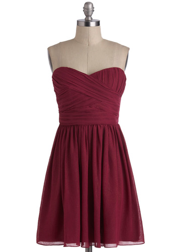 Magenta Marvelous Dress - Short, Red, Solid, Ruching, Party, A-line, Strapless, Sweetheart, Wedding, Holiday Party