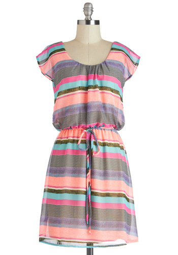 Highlight Up My Life Dress - Mid-length, Multi, Stripes, Belted, Casual, Neon, A-line, Cap Sleeves, Summer, Travel