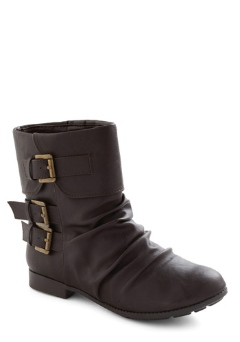 Something to Talk A-Boot in Dark Brown - Brown, Solid, Buckles, Ruching, Low, Faux Leather, Casual, Military