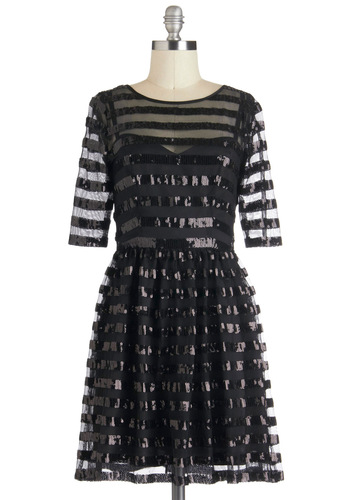 Encompassing Enchantment Dress - Black, Sequins, Party, 3/4 Sleeve, Mid-length, Stripes, Holiday Party, A-line