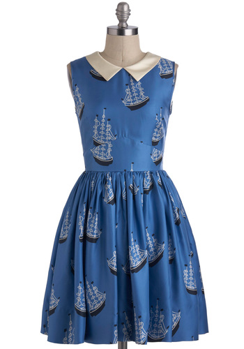 Orla Kiely Trunnel of Love Dress by Orla Kiely - Blue, White, Novelty Print, Peter Pan Collar, Sleeveless, International Designer, Mid-length, Pockets, Daytime Party, Nautical, Fit & Flare, Collared, Luxe