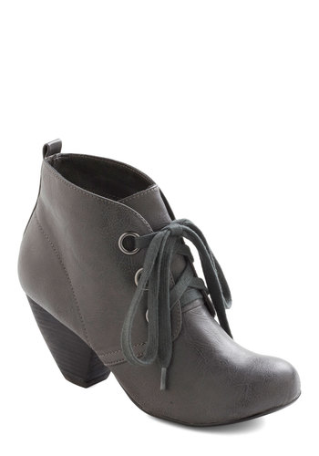 Autumn Adore Bootie in Stone - Grey, Solid, Lace Up, Mid, Faux Leather, Casual, Vintage Inspired, Steampunk