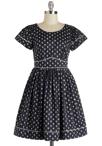 Orla Kiely Fête Sail Dress by Orla Kiely - Blue, White, Novelty Print, Short Sleeves, Fit & Flare, International Designer, Cotton, Mid-length, Cutout, Pockets, Daytime Party, Nautical, Luxe
