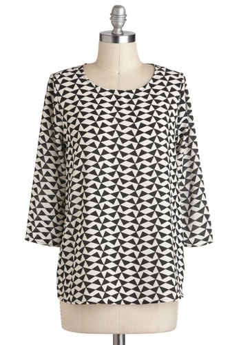 Formally Invited Top - Mid-length, Multi, Black, White, Print, 3/4 Sleeve, Work, Casual, 80s
