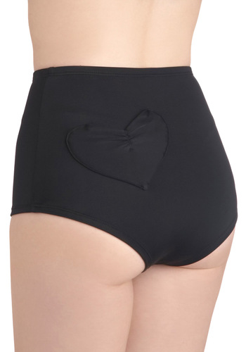 You and Cay Swimsuit Bottom in Heart by Lolli Swim - Black, Solid, Pinup, 50s, Summer, Pockets, Beach/Resort, High Waist