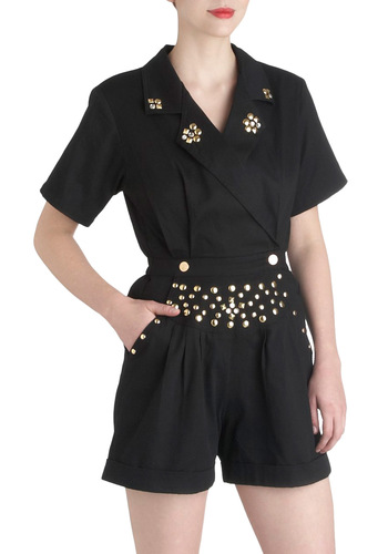 Rockin' Romper - Cotton, Long, Black, Solid, Studs, Party, Vintage Inspired, 80s, Urban, Pockets