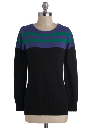 In a Good Mood Indigo Sweater - Cotton, Mid-length, Black, Green, Blue, Stripes, Casual, Long Sleeve, Menswear Inspired, Winter