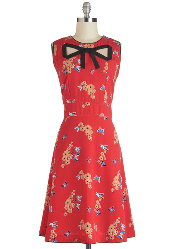 Peek-a-Bow Dress by Trollied Dolly - International Designer, Long, Red, Orange, Blue, Black, Floral, Print with Animals, Cutout, Casual, A-line, Sleeveless, Crew