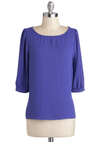 Iris You Were Here Top - Mid-length, Blue, Solid, Work, 3/4 Sleeve, Minimal, Variation