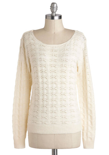 Ivory League School Sweater - Mid-length, White, Solid, Knitted, Casual, Long Sleeve, Pastel