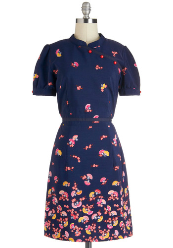 Cultural Center Dress by Trollied Dolly - International Designer, Mid-length, Blue, Pink, Multi, Print, Casual, A-line, Short Sleeves, Collared, Novelty Print, Daytime Party
