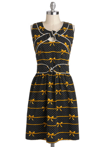 Knot Too Late Dress in Bows by Trollied Dolly - International Designer, Mid-length, Black, Yellow, Novelty Print, Casual, A-line, Sleeveless, Vintage Inspired