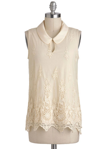 Queen Anne's Lacy Top - Mid-length, Cream, Solid, Crochet, Peter Pan Collar, Work, Holiday Party, Vintage Inspired, French / Victorian, Sleeveless, Collared