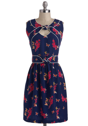 Knot Too Late Dress in Cherry Blossom by Trollied Dolly - International Designer, Mid-length, Blue, Pink, Floral, Casual, A-line, Sleeveless, Vintage Inspired