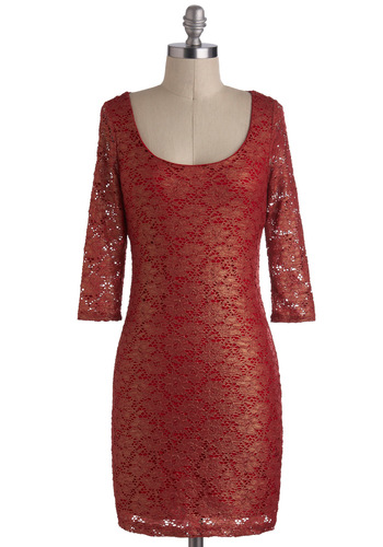 Lava Your Life Dress - Short, Sheer, Red, Gold, Backless, Cutout, Lace, Party, Holiday Party, Sheath / Shift, 3/4 Sleeve