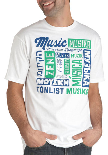 Universal Language Tee - White, Green, Blue, Short Sleeves, Cotton, Novelty Print