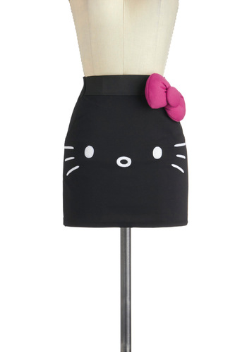 Mew Complete Me Skirt - Short, Black, Pink, White, Bows, Girls Night Out, Mini, Print with Animals, Kawaii