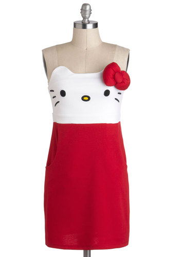 Kawaii Not? Dress - Short, Red, White, Bows, Pockets, Casual, Shift, Strapless, Kawaii, Print with Animals, Cats, Halloween