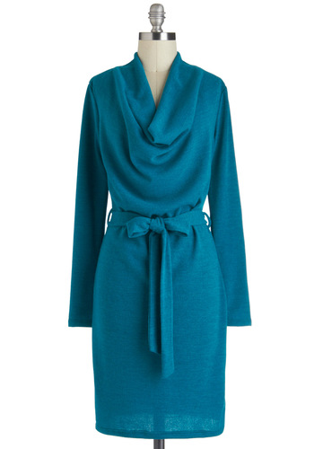 Just Teal a Story Dress - Mid-length, Blue, Solid, Belted, Casual, Sheath / Shift, Long Sleeve, Cowl, Work