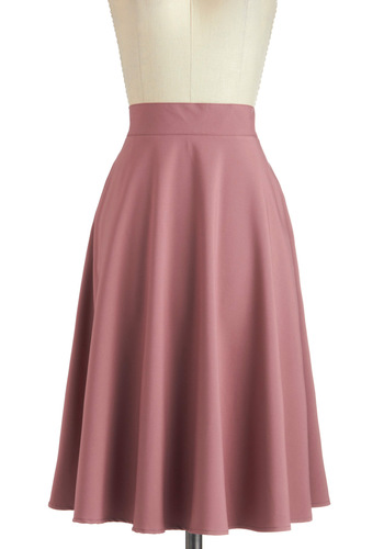 Mauve Squad Skirt - Pink, Solid, Work, A-line, Long, Pockets, Minimal