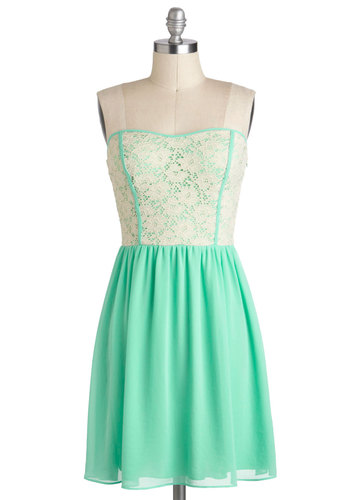 Glowing Places Dress in Mint - Mint, Tan / Cream, Lace, Daytime Party, A-line, Strapless, Sweetheart, Mid-length, Pastel, Summer