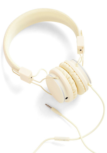Thoroughly Modern Musician Headphones in Cream - Cream, Urban, Minimal, Music, Graduation