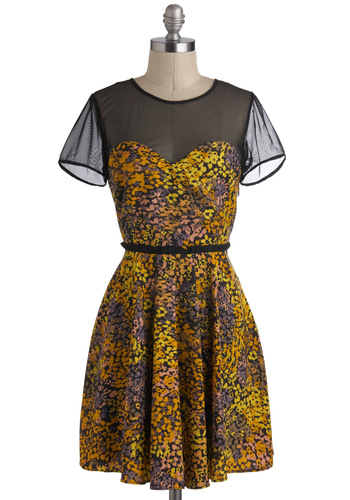 Mind On My Monet Dress - Black, Grey, Party, A-line, Short Sleeves, Mid-length, Yellow, Orange, Floral