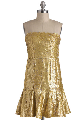24 Karat Bold Dress - Gold, Sequins, Party, Shift, Strapless, Mid-length, Solid, Holiday Party, Girls Night Out, Special Occasion