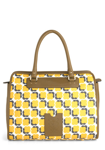 Orla Kiely Floating Flowers Bag by Orla Kiely - Yellow, Brown, White, Print, International Designer, Leather, Vintage Inspired, 60s, Luxe
