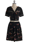 Forever and Feather Dress by Trollied Dolly - International Designer, Mid-length, Black, Multi, Belted, Tie Neck, Casual, A-line, Short Sleeves, V Neck, Print with Animals