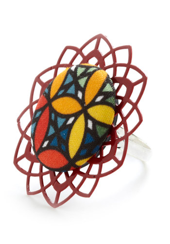 Stained Glass Class Ring - Multi, Floral, Cutout, Statement