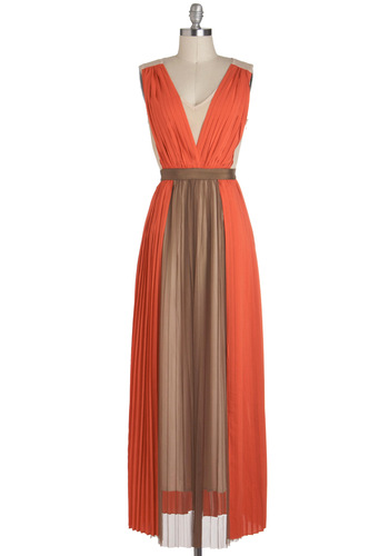 Now and Athens Dress by Ryu - Tan / Cream, Pleats, Cocktail, Maxi, V Neck, Long, Orange, Brown, Colorblocking, Sleeveless, Special Occasion, Coral