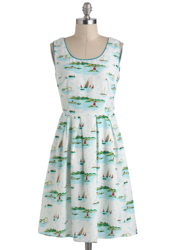 Floats Your Sailboat Dress - Multi, Green, Blue, White, Casual, Nautical, A-line, Sleeveless, Novelty Print, Beach/Resort, Spring, Summer, Mid-length