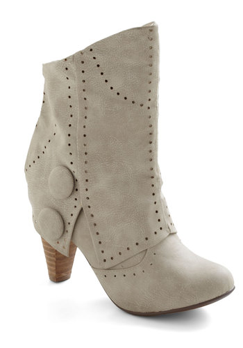 Know When to Fold 'Em Boot in Ivory - Mid, Cream, Solid, Buttons, Urban, Variation