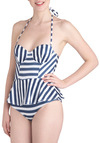 Beauty on the Shore One Piece in Stripes by Lolli Swim - Blue, White, Stripes, Pinup, 50s, Peplum, Summer, Beach/Resort, Nautical, Exclusives