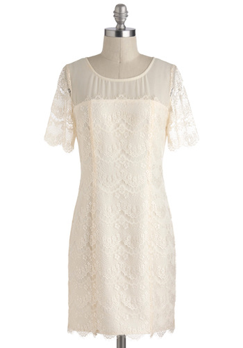 Change of Pastry Dress - Cream, Solid, Lace, Party, Shift, Short Sleeves, Wedding, Vintage Inspired, Scallops, White, Mid-length, Graduation, Bride