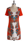 Fleur-schach Tunic - Long, Multi, Floral, Casual, Short Sleeves, Scoop