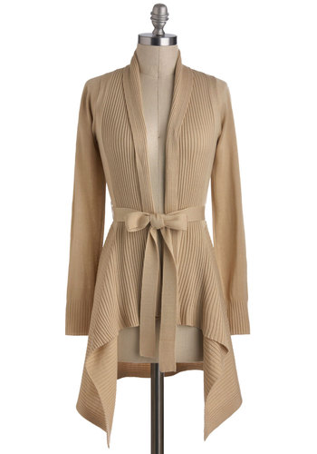 Coastal Cafe Cardigan in Sand - Tan, Solid, Belted, Casual, Long Sleeve