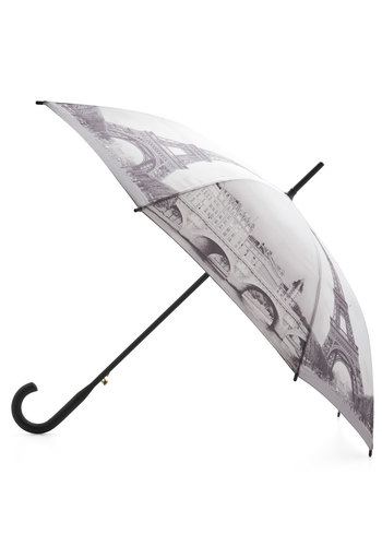 Rain Along the Seine Umbrella - White, Black, Novelty Print, French / Victorian