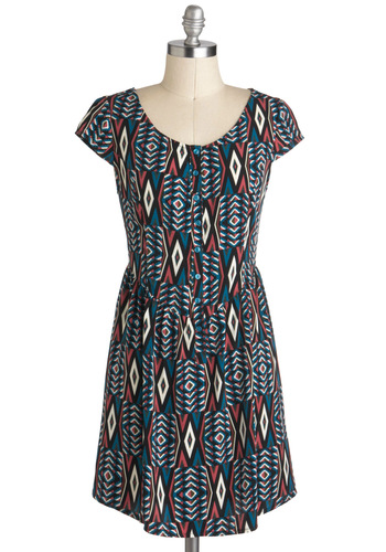 Keep Austin Cute Dress - Short, Multi, Blue, Pink, White, Print, Buttons, Casual, A-line, Cap Sleeves, Folk Art