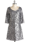 Silver Lighting the Night Dress - Short, Silver, Backless, Sequins, Party, Holiday Party, Sheath / Shift, Short Sleeves