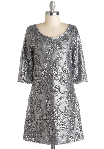 Silver Lighting the Night Dress - Short, Silver, Backless, Sequins, Party, Holiday Party, Shift, Short Sleeves