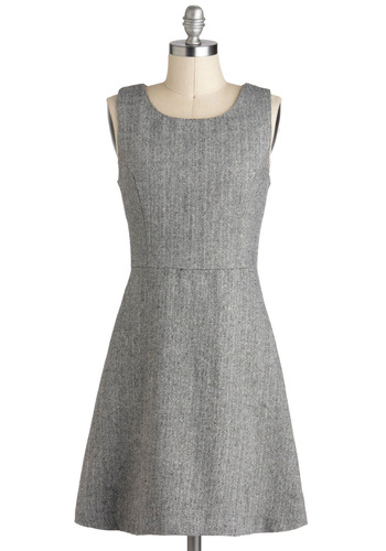 Office Fete Dress - Mid-length, Grey, Herringbone, Work, A-line, Sleeveless, Minimal