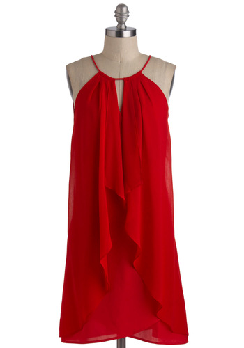 Style Savvy Scarlet Dress - Mid-length, Red, Solid, Party, Sheath / Shift, Halter, Girls Night Out