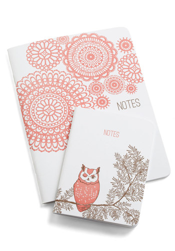 Scenic Stanzas Notebook Set in Countryside - Pink, Owls, White, Print, Graduation