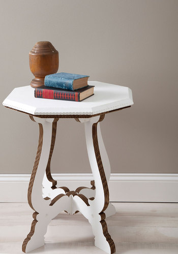 Fold World Charm Cardboard Table - White, Dorm Decor, Quirky, Minimal