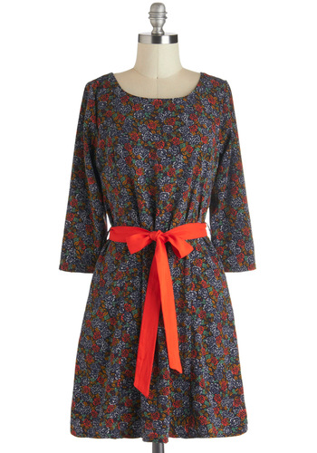 Rosebush Comes to Shove Dress - Mid-length, Multi, Orange, Floral, Exposed zipper, Pockets, Belted, Casual, Sack, 3/4 Sleeve